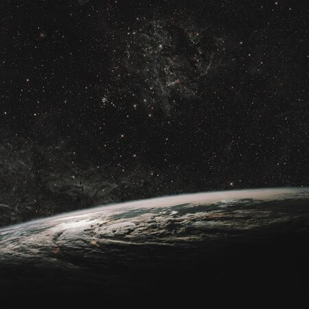Earth and galaxy. Night Sky Space Some . Stock Photo