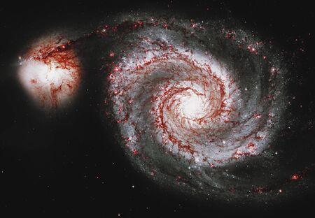 Whirlpool Galaxy. Spiral galaxy M51 or NGC 5194        . Stok Fotoğraf