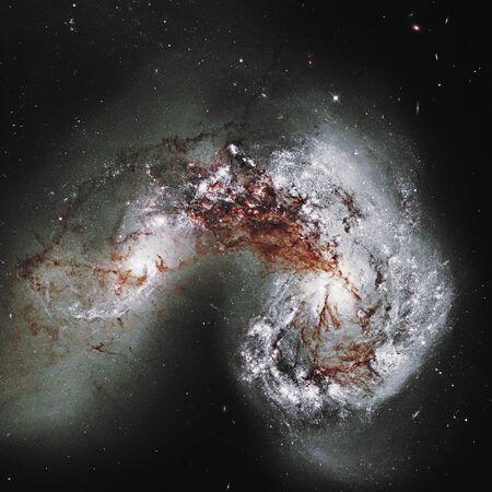 Antennae Galaxies NGC 4038, NGC 4039.       . Retouched .