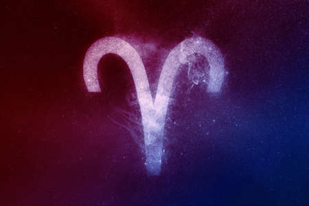 Aries Zodiac Sign Red Blue. Abstract night sky background Banque d'images