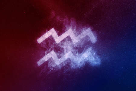Aquarius Zodiac Sign Red Blue. Abstract night sky background