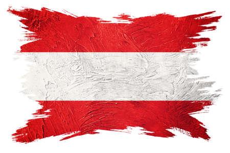 Grunge Austria flag. Austria flag with grunge texture. Brush stroke.