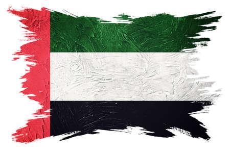 Grunge UAE flag. United Arab Emirates flag with grunge texture. Brush stroke.