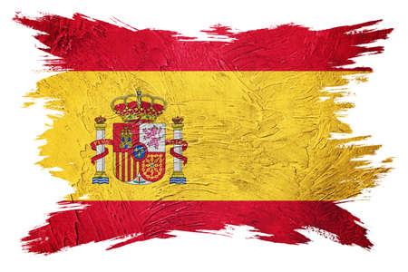 Grunge Spain flag. Spain flag with grunge texture. Brush stroke. 版權商用圖片