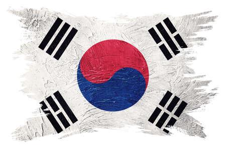 Grunge South Korea flag. South Korea flag with grunge texture. Brush stroke.
