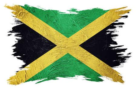 Grunge Jamaica flag. Jamaica flag with grunge texture. Brush stroke. 版權商用圖片
