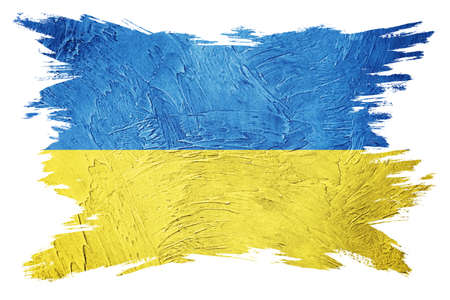 Grunge Ukraine flag. Ukraine flag with grunge texture. Brush stroke.