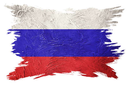 Grunge Russia flag. Russian flag with grunge texture. Brush stroke.