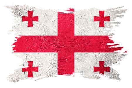 Grunge Georgia flag. Georgia flag with grunge texture. Brush stroke. 版權商用圖片