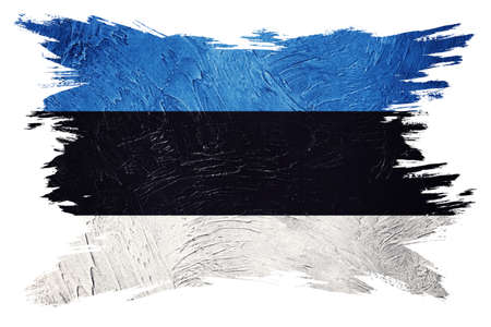 Grunge Estonia flag. Estonian flag with grunge texture. Brush stroke. 版權商用圖片