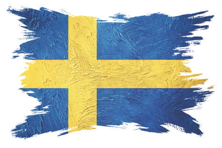 Grunge Sweden flag. Sweden flag with grunge texture. Brush stroke.