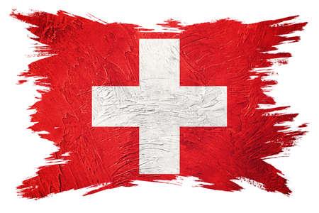 Grunge Switzerland flag. Swiss flag with grunge texture. Brush stroke. 版權商用圖片