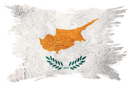 Grunge Cyprus flag. Cyprus flag with grunge texture. Brush stroke.