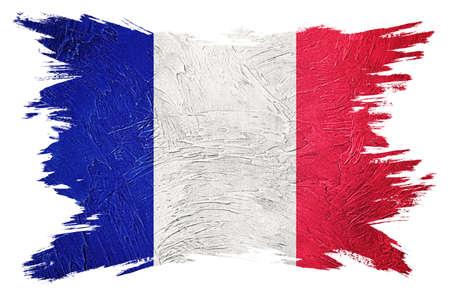 Grunge France flag. France flag with grunge texture. Brush stroke. 版權商用圖片