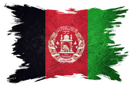 Grunge Afghanistan flag. Afghanistan flag with grunge texture. Brush stroke. 版權商用圖片