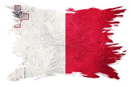 Grunge Malta flag. Malta flag with grunge texture. Brush stroke.