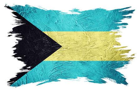 Grunge Bahamas flag. Bahamas flag with grunge texture. Brush stroke.