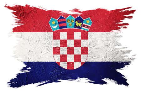Grunge Croatia flag. Croatian flag with grunge texture. Brush stroke.