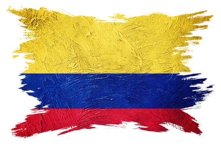 Grunge Colombia flag. Colombian flag with grunge texture. Brush stroke.
