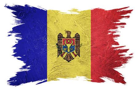Grunge Moldova flag. Moldova flag with grunge texture. Brush stroke.