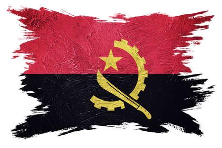 Grunge Angola flag. Angola flag with grunge texture. Brush stroke.