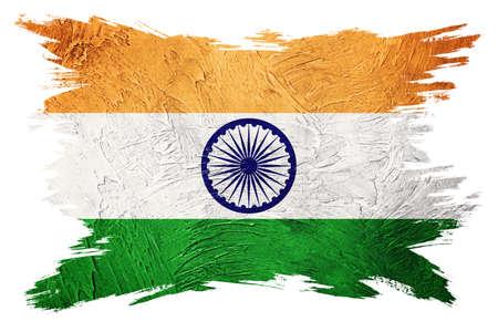 Grunge India flag. India flag with grunge texture. Brush stroke.