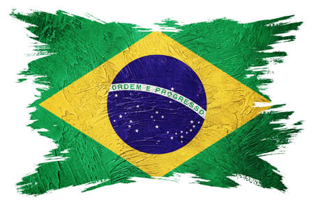Grunge Brasil flag. Brazilian flag with grunge texture. Brush stroke.