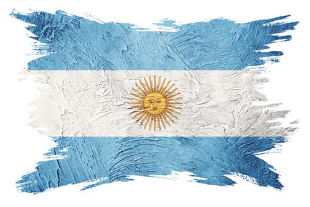Grunge Argentina flag. Argentina flag with grunge texture. Brush stroke. 版權商用圖片