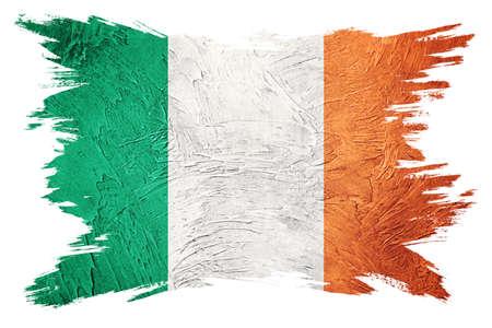 Grunge Ireland flag. Irish flag with grunge texture. Brush stroke.