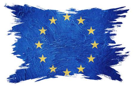 Grunge Europe Union flag. EU flag with grunge texture. Brush stroke. Фото со стока