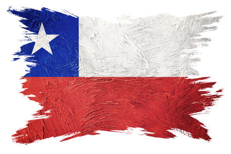 Grunge Chile flag. Chilean flag with grunge texture. Brush stroke.