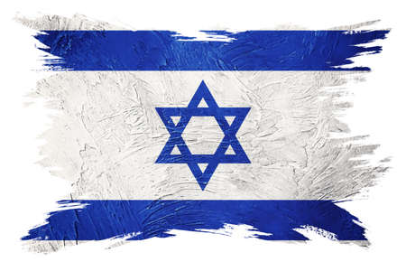 Grunge Israel flag. Israel flag with grunge texture. Brush stroke. 版權商用圖片