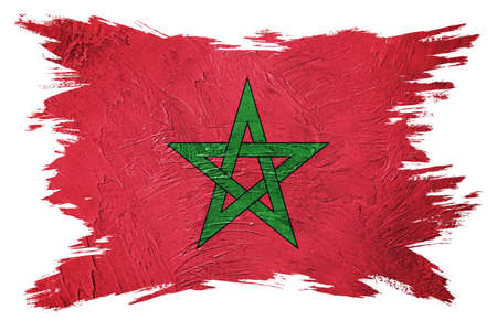 Grunge Morocco flag. Morocco flag with grunge texture. Brush stroke. 版權商用圖片