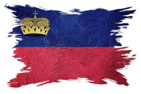 Grunge Liechtenstein flag. Liechtenstein flag with grunge texture. Brush stroke. 版權商用圖片