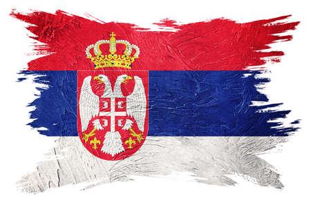 Grunge Serbian flag. Serbia flag with grunge texture. Brush stroke. 版權商用圖片