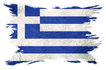Grunge Greece flag. Greece flag with grunge texture. Brush stroke.