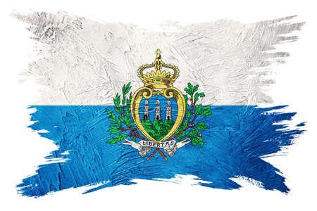 Grunge San Marino flag. San Marino flag with grunge texture. Brush stroke. 版權商用圖片