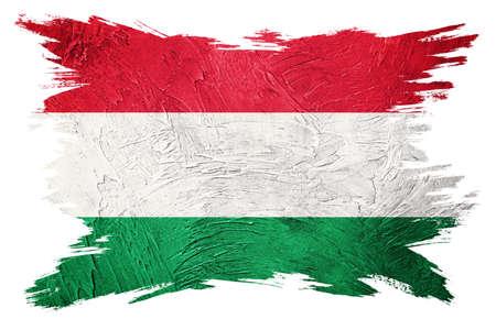 Grunge Hungary flag. Hungarian flag with grunge texture. Brush stroke.