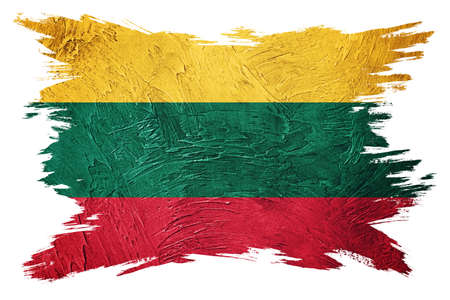 Grunge Lithuania flag. Lithuanian flag with grunge texture. Brush stroke.