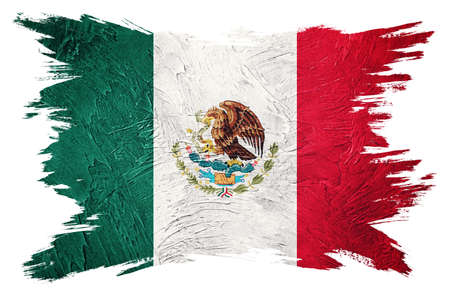 Grunge Mexico flag. Mexican flag with grunge texture. Brush stroke.