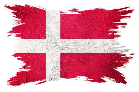 Grunge Denmark flag. Denmark flag with grunge texture. Brush stroke.