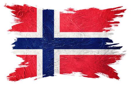 Grunge Norway flag. Norway flag with grunge texture. Brush stroke.