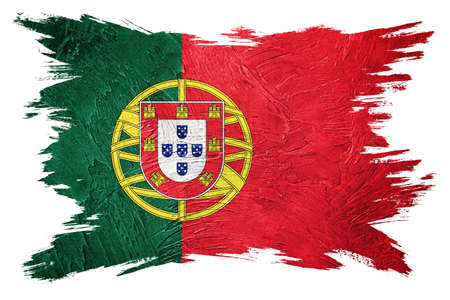 Grunge Portugal flag. Portugal flag with grunge texture. Brush stroke.