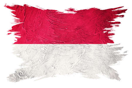Grunge Indonesia flag. Indonesia flag with grunge texture. Brush stroke.