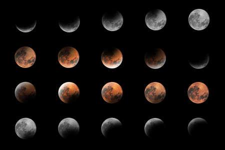Lunar Eclipse Phases, Blood moon, Composite Lunar Eclipse Stock Photo