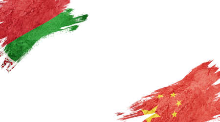 Flags of Belarus and China on white background