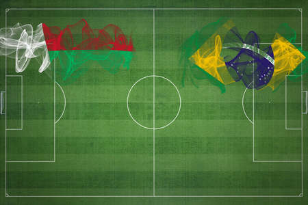 Madagascar vs Brazil Soccer Match, national colors, national flags, soccer field, football game, Competition concept, Copy space