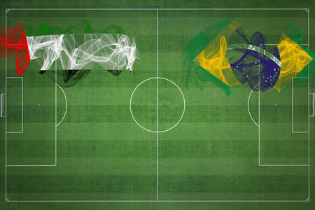 United Arab Emirates vs Brazil Soccer Match, national colors, national flags, soccer field, football game, Competition concept, Copy space Stock Photo