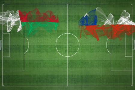 Madagascar vs Chile Soccer Match, national colors, national flags, soccer field, football game, Competition concept, Copy space Фото со стока