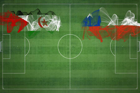 Sahrawi Arab Democratic Republic vs Chile Soccer Match, national colors, national flags, soccer field, football game, Competition concept, Copy space